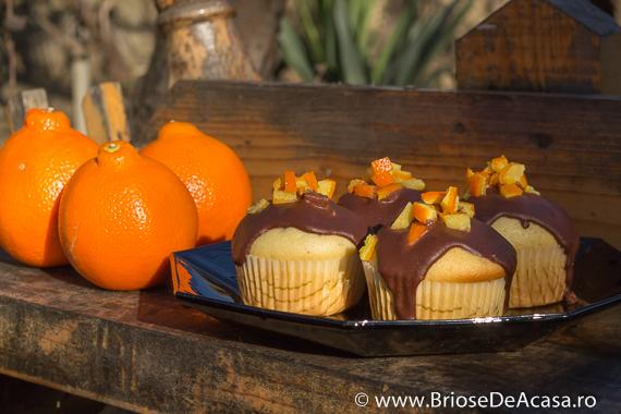 Briose cu coaja de portocala si topping de ciocolata
