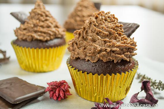 Cupcakes cu ciocolata si lichior de menta