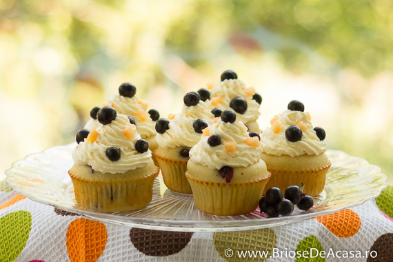 cupcakes de vara cu pepene galben si afine