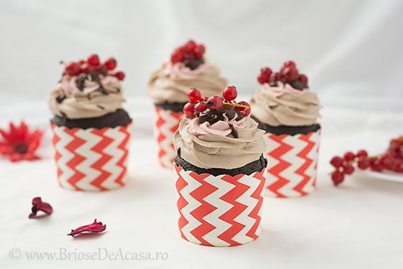 Briose de ciocolata cu coacaze rosii si ganache de ciocolata